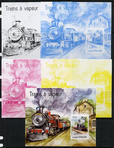 Togo 2014 Steam Locomotives imperf s/sheet D - the set of 5 imperf progressive proofs comprising the 4 individual colours plus all 4-colour composite, unmounted mint