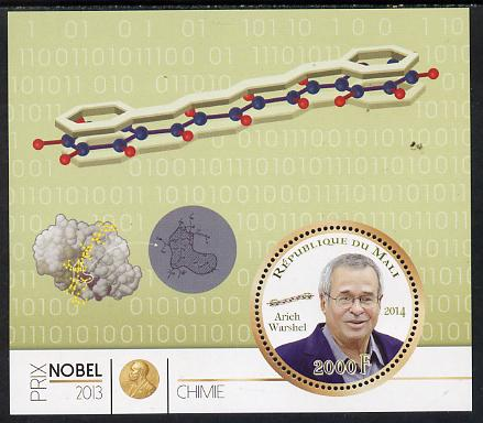 Mali 2014 Nobel Prize for Chemistry (2013) - Arieh  Warshel perf s/sheet containing one circular value unmounted mint