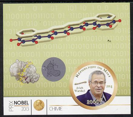 Mali 2014 Nobel Prize for Chemistry (2013) - Arieh  Warshel imperf s/sheet containing one circular value unmounted mint