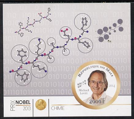 Mali 2014 Nobel Prize for Chemistry (2013) - Michael Levitt imperf s/sheet containing one circular value unmounted mint
