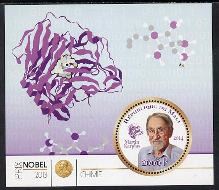 Mali 2014 Nobel Prize for Chemistry (2013) - Martin Karplus perf s/sheet containing one circular value unmounted mint