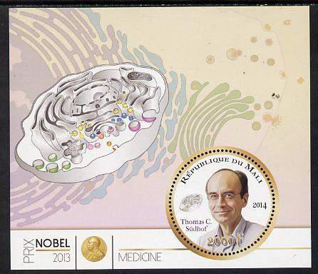 Mali 2014 Nobel Prize for Medicine (2013) - Thomas C Sudhof perf s/sheet containing one circular value unmounted mint