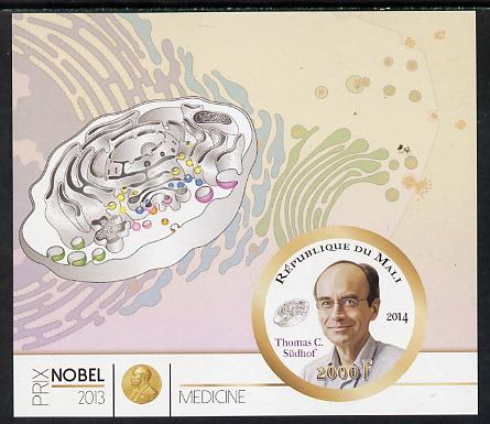 Mali 2014 Nobel Prize for Medicine (2013) - Thomas C Sudhof imperf s/sheet containing one circular value unmounted mint