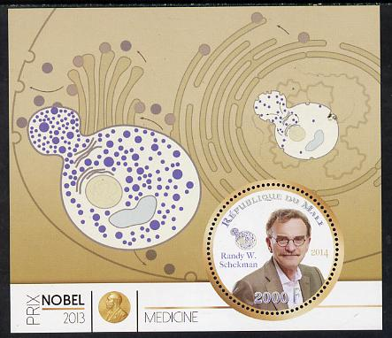 Mali 2014 Nobel Prize for Medicine (2013) - Randy W Schekman perf s/sheet containing one circular value unmounted mint