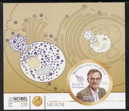 Mali 2014 Nobel Prize for Medicine (2013) - Randy W Schekman imperf s/sheet containing one circular value unmounted mint
