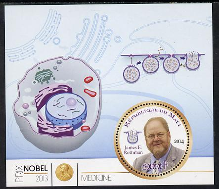Mali 2014 Nobel Prize for Medicine (2013) - James E Rothman perf s/sheet containing one circular value unmounted mint