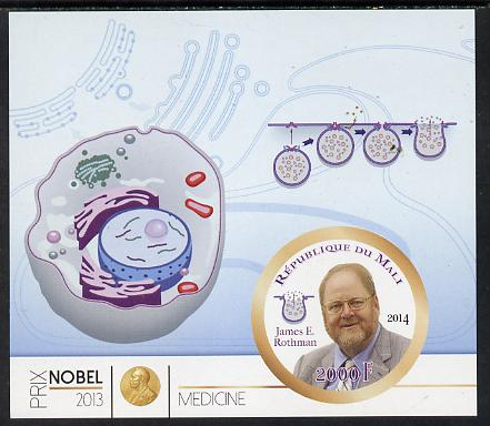 Mali 2014 Nobel Prize for Medicine (2013) - James E Rothman imperf s/sheet containing one circular value unmounted mint