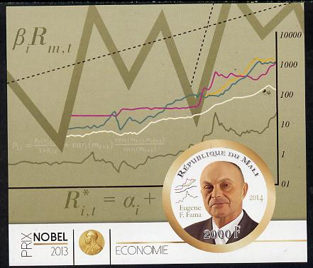 Mali 2014 Nobel Prize for Economics (2013) - Eugene F Fama imperf s/sheet containing one circular value unmounted mint