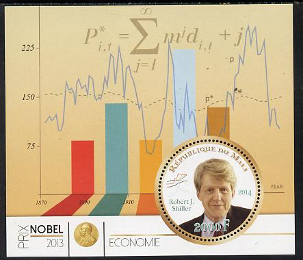 Mali 2014 Nobel Prize for Economics (2013) - Robert J Shiller perf s/sheet containing one circular value unmounted mint