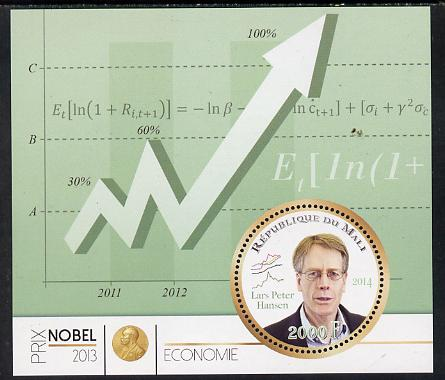 Mali 2014 Nobel Prize for Economics (2013) - Lars Peter Hansen perf s/sheet containing one circular value unmounted mint