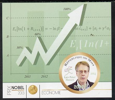 Mali 2014 Nobel Prize for Economics (2013) - Lars Peter Hansen imperf s/sheet containing one circular value unmounted mint