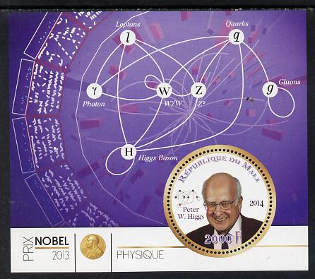 Mali 2014 Nobel Prize for Physics (2013) - Peter W Higgs perf s/sheet containing one circular value unmounted mint