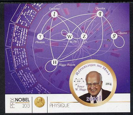 Mali 2014 Nobel Prize for Physics (2013) - Peter W Higgs imperf s/sheet containing one circular value unmounted mint