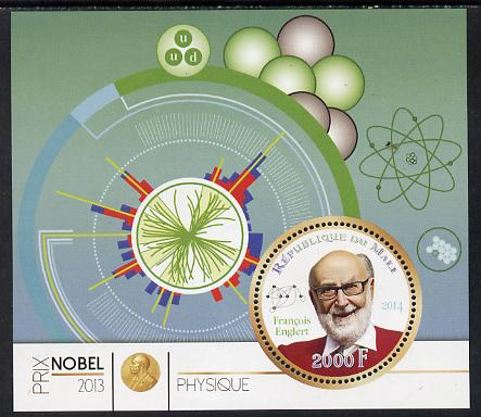 Mali 2014 Nobel Prize for Physics (2013) - Francois Englert perf s/sheet containing one circular value unmounted mint