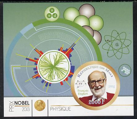 Mali 2014 Nobel Prize for Physics (2013) - Francois Englert imperf s/sheet containing one circular value unmounted mint