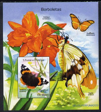 St Thomas & Prince Islands 2014 Butterflies A imperf deluxe m/sheet unmounted mint. Note this item is privately produced and is offered purely on its thematic appeal