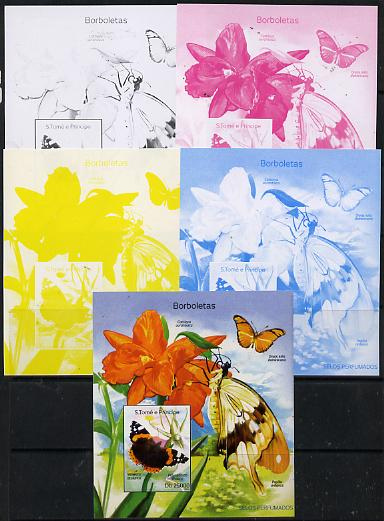 St Thomas & Prince Islands 2014 Butterflies A deluxe m/sheet - the set of 5 imperf progressive proofs comprising the 4 individual colours plus all 4-colour composite, unmounted mint