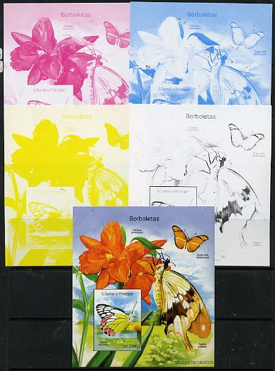 St Thomas & Prince Islands 2014 Butterflies B deluxe m/sheet - the set of 5 imperf progressive proofs comprising the 4 individual colours plus all 4-colour composite, unmounted mint