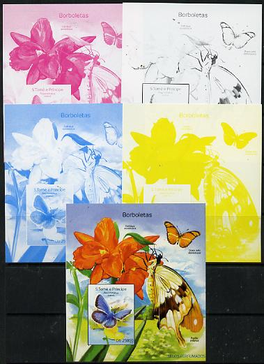 St Thomas & Prince Islands 2014 Butterflies C deluxe m/sheet - the set of 5 imperf progressive proofs comprising the 4 individual colours plus all 4-colour composite, unmounted mint