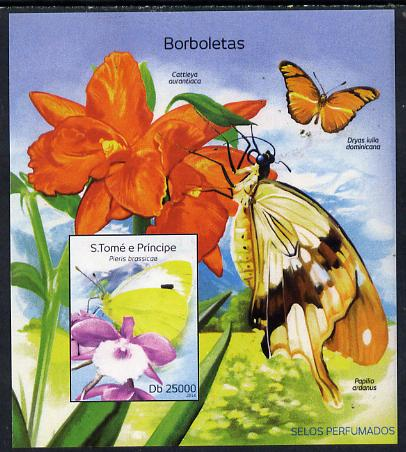 St Thomas & Prince Islands 2014 Butterflies D imperf deluxe m/sheet unmounted mint. Note this item is privately produced and is offered purely on its thematic appeal