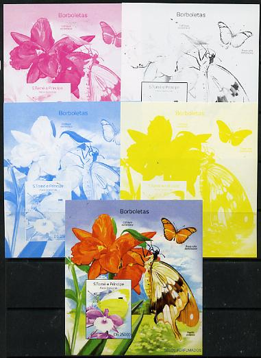 St Thomas & Prince Islands 2014 Butterflies D deluxe m/sheet - the set of 5 imperf progressive proofs comprising the 4 individual colours plus all 4-colour composite, unmounted mint , stamps on butterflies, stamps on