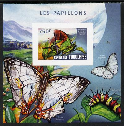 Togo 2014 Butterflies E imperf deluxe m/sheet unmounted mint. Note this item is privately produced and is offered purely on its thematic appeal