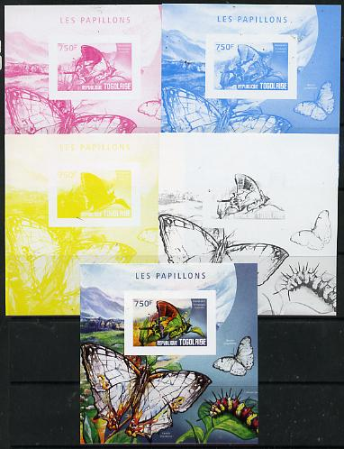 Togo 2014 Butterflies E deluxe m/sheet - the set of 5 imperf progressive proofs comprising the 4 individual colours plus all 4-colour composite, unmounted mint