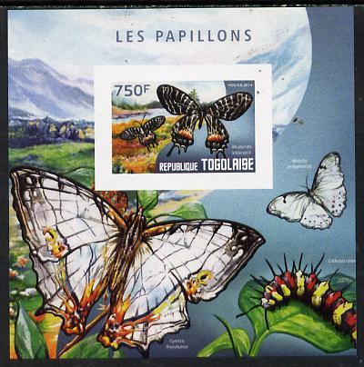 Togo 2014 Butterflies F imperf deluxe m/sheet unmounted mint. Note this item is privately produced and is offered purely on its thematic appeal