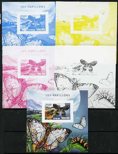 Togo 2014 Butterflies F deluxe m/sheet - the set of 5 imperf progressive proofs comprising the 4 individual colours plus all 4-colour composite, unmounted mint