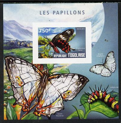 Togo 2014 Butterflies G imperf deluxe m/sheet unmounted mint. Note this item is privately produced and is offered purely on its thematic appeal