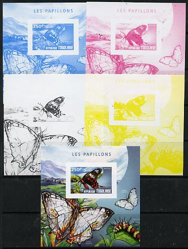 Togo 2014 Butterflies G deluxe m/sheet - the set of 5 imperf progressive proofs comprising the 4 individual colours plus all 4-colour composite, unmounted mint