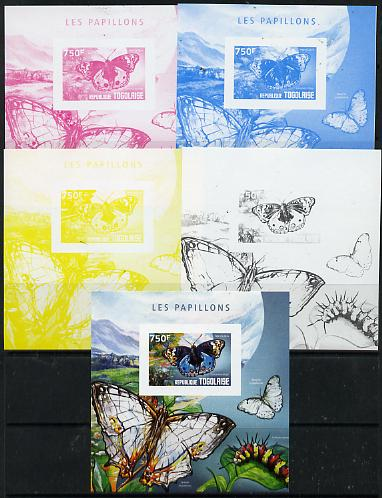 Togo 2014 Butterflies H deluxe m/sheet - the set of 5 imperf progressive proofs comprising the 4 individual colours plus all 4-colour composite, unmounted mint