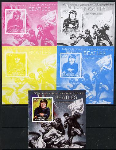 Central African Republic 2014 The Beatles - John Lennon deluxe m/sheet - the set of 5 imperf progressive proofs comprising the 4 individual colours plus all 4-colour composite, unmounted mint