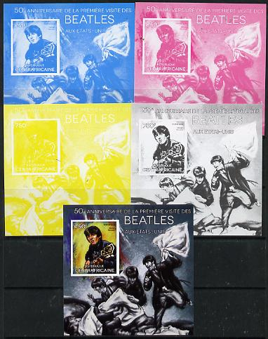 Central African Republic 2014 The Beatles - George Harrison deluxe m/sheet - the set of 5 imperf progressive proofs comprising the 4 individual colours plus all 4-colour composite, unmounted mint