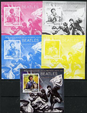 Central African Republic 2014 The Beatles - Ringo Starr deluxe m/sheet - the set of 5 imperf progressive proofs comprising the 4 individual colours plus all 4-colour comp...