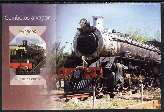 St Thomas & Prince Islands 2014 Steam Trains #2 imperf s/sheet unmounted mint. Note this item is privately produced and is offered purely on its thematic appeal