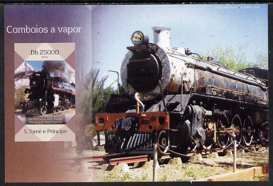 St Thomas & Prince Islands 2014 Steam Trains #4 imperf s/sheet unmounted mint. Note this item is privately produced and is offered purely on its thematic appeal