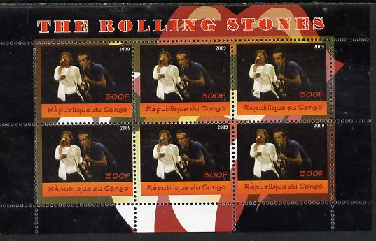Congo 2014 The Rolling Stones #1 perf sheetlet containing 6 values unmounted mint. Note this item is privately produced and is offered purely on its thematic appeal