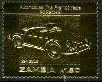 Zambia 1987 Classic Cars 1k50 Porsche in 22k gold foil unmounted mint