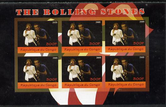 Congo 2014 The Rolling Stones #1 imperf sheetlet containing 6 values unmounted mint. Note this item is privately produced and is offered purely on its thematic appeal