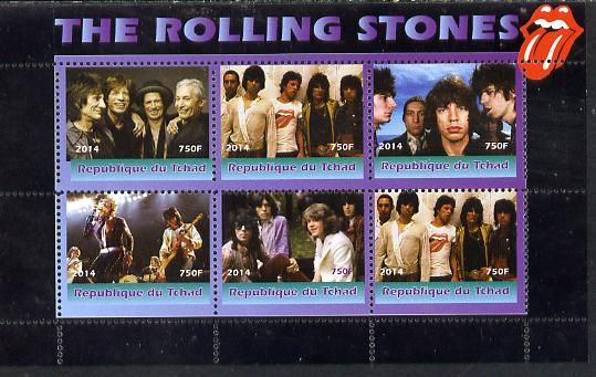 Congo 2014 The Rolling Stones #2 perf sheetlet containing 6 values unmounted mint. Note this item is privately produced and is offered purely on its thematic appeal