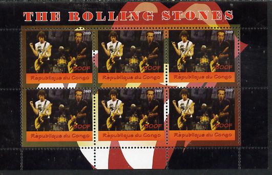 Congo 2014 The Rolling Stones #3 perf sheetlet containing 6 values unmounted mint. Note this item is privately produced and is offered purely on its thematic appeal