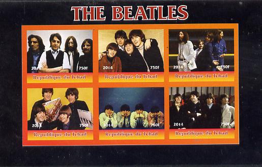Chad 2014 The Beatles #2 imperf sheetlet containing 6 values unmounted mint. Note this item is privately produced and is offered purely on its thematic appeal. .