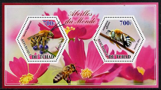 Chad 2014 Bees #1 perf sheetlet containing two hexagonal-shaped values unmounted mint