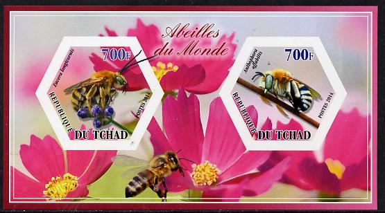 Chad 2014 Bees #1 imperf sheetlet containing two hexagonal-shaped values unmounted mint , stamps on shaped, stamps on hexagon, stamps on hexagonal, stamps on bees