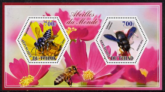 Chad 2014 Bees #2 perf sheetlet containing two hexagonal-shaped values unmounted mint