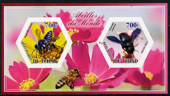 Chad 2014 Bees #2 imperf sheetlet containing two hexagonal-shaped values unmounted mint