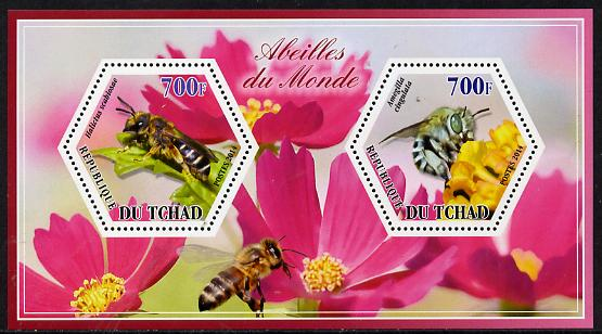 Chad 2014 Bees #3 perf sheetlet containing two hexagonal-shaped values unmounted mint