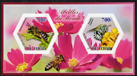 Chad 2014 Bees #3 imperf sheetlet containing two hexagonal-shaped values unmounted mint , stamps on shaped, stamps on hexagon, stamps on hexagonal, stamps on bees