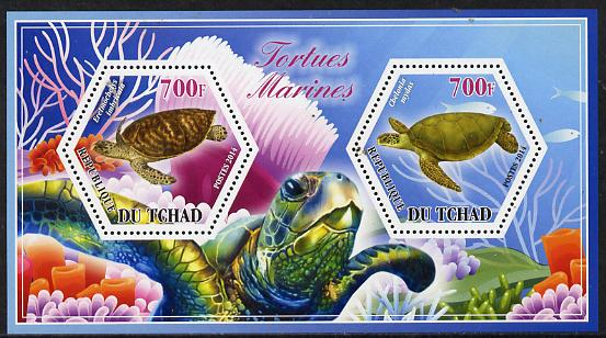 Chad 2014 Turtles #1 perf sheetlet containing two hexagonal-shaped values unmounted mint